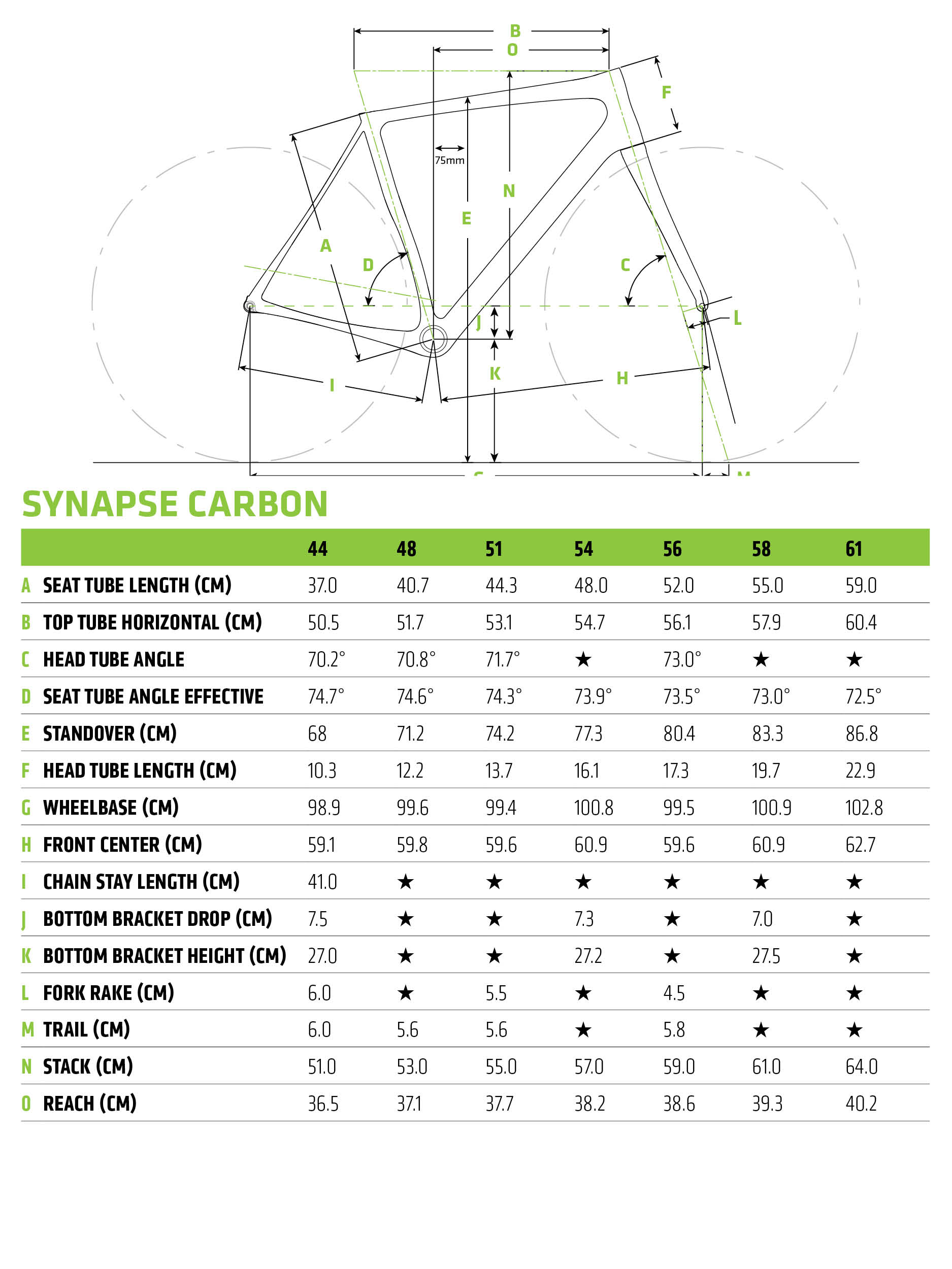 2018 Cannondale Synapse Geometry
