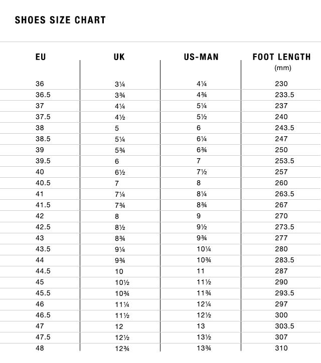 Fizik Shoe Size Guide