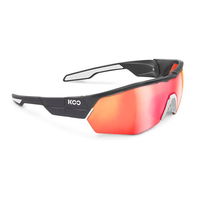 Koo OPEN CUBE Sunglasses : Black / White with Red Mirror Lens