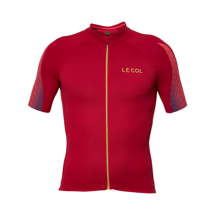 abecd4b73 Le Col HC Mens Short Sleeve Cycling Jersey   Red Hexagon - 700