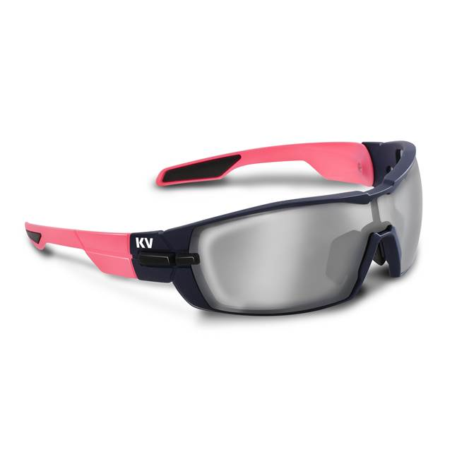 Koo OPEN Sunglasses: Pink/Navy with Smoke Mirror Lens