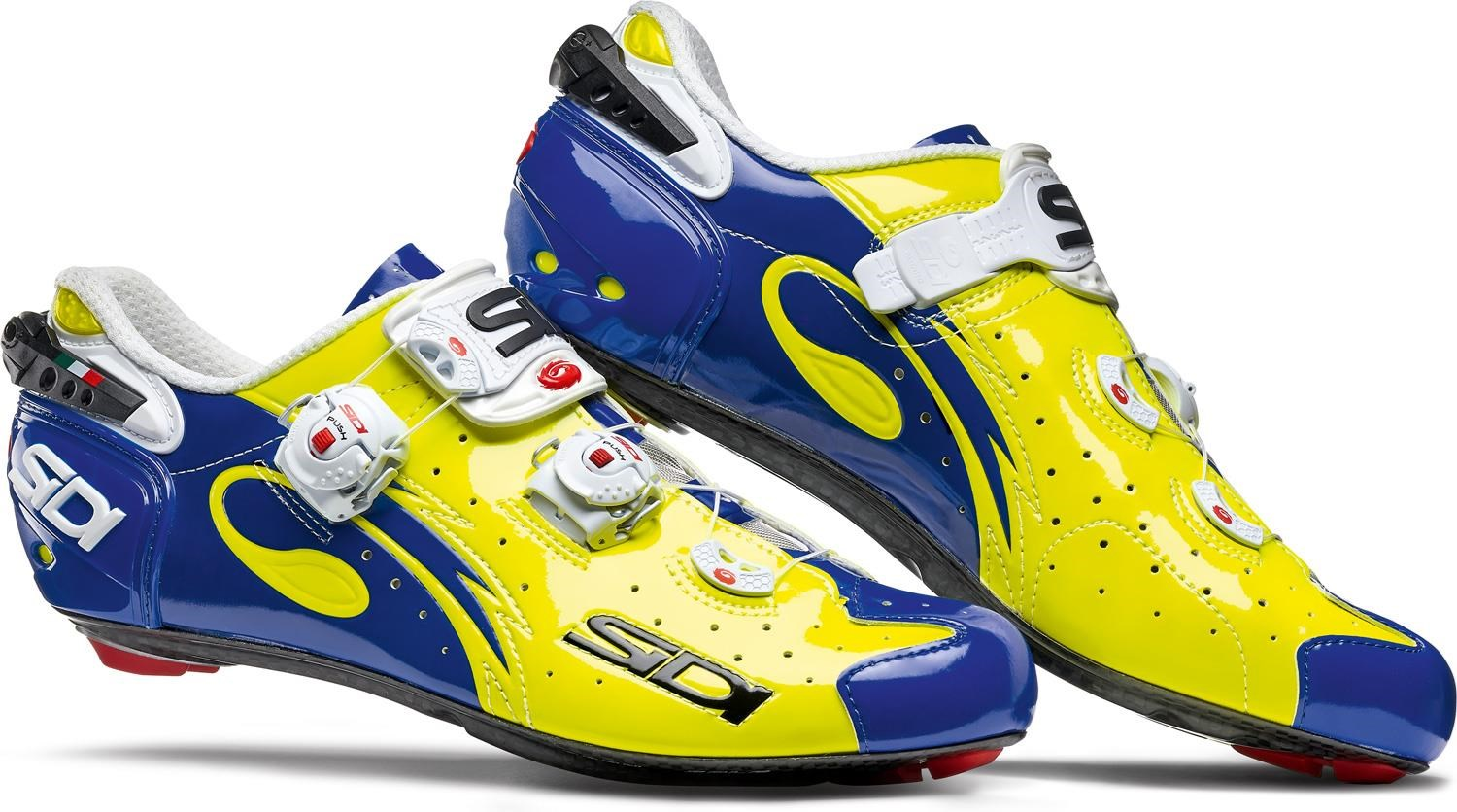 Sidi Wire Carbon Vernice Cycling Shoes Yellow Fluro Blue