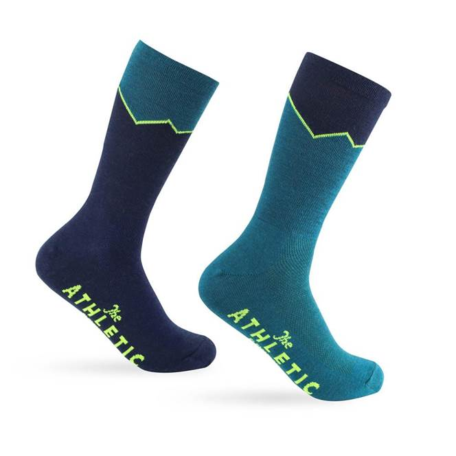 The Athletic : Elevation Wool Sock : Lapis and Navy Mismatch Pair