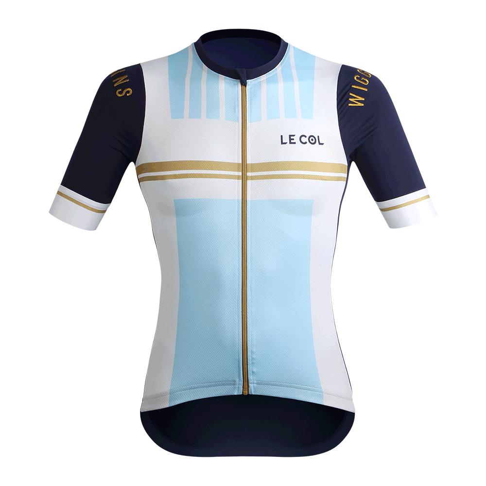 3de2186c2 Le Col by Wiggins   WOMENS PRO Cycling Jersey   White   Light Blu - 700
